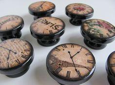 Clock Knobs Romantic Paris Knobs Antique Clock by LeilasLoft