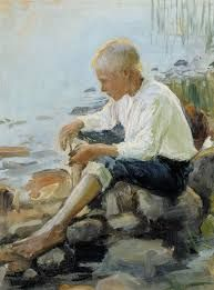 Poika rannalla (Boy on the Shore), by Pekka Halonen on Curiator, the world's biggest collaborative art collection. Scandinavian Art, Canadian Art, Art Plastique, Art Forms, Art Museum, Art History, Portraits, Contemporary Art, Art Gallery