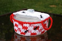 Funky Crochet Casserole Cover trimmed with crocheted ants ~pattern available for purchase