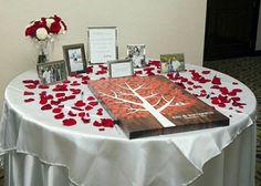 Richwood Wedding Tree Canvas   Guest Book Alternative   Rustic Wedding   Customer Photo - Beautiful Table Display!   Wedding Color - Red   peachwik.com