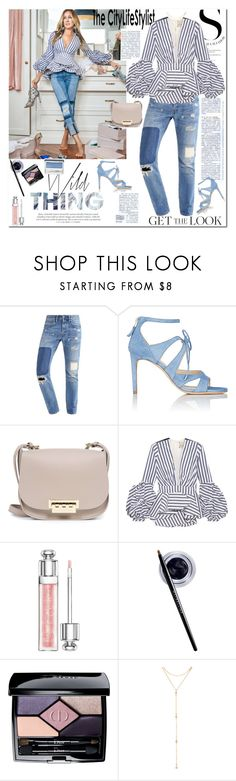 """""""Steal her style: Sarah Jessica Parker"""" by ellie366 ❤ liked on Polyvore featuring Sarah Jessica Parker, Chloe Gosselin, ZAC Zac Posen, Johanna Ortiz, Christian Dior, Maybelline, Fragments, Clinique, GetTheLook and stripes"""