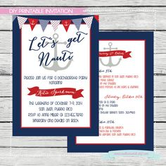 Let's Get Nauti Bachelorette Invitation with Itinerary or Details for the weekend. DIY by SouthernSwish, $15.00