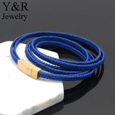 stainless steel gold plated magnetic clasp italian woven leather bracelets for men