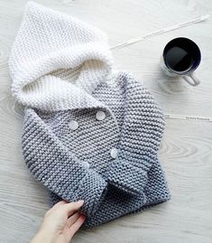"""детский кардиган спицами """"Cotton or wool howdy for babies, gradient grey and white"""", """"Knitted coat for kids"""", """"This post was discovered by Fat"""" Knitting For Kids, Crochet For Kids, Baby Knitting Patterns, Baby Patterns, Crochet Baby, Crochet Girls, Dress Patterns, Crochet Patterns, Cardigan Bebe"""
