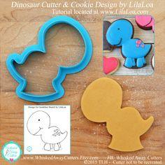 LilaLoa's Dinosaur Cookie Cutter & Fondant Cutter - **Guideline Sketch to Print Below Plus Tutorial Link** by WhiskedAwayCutters on Etsy https://www.etsy.com/listing/220361127/lilaloas-dinosaur-cookie-cutter-fondant