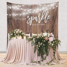 Let Love Sparkle Rustic Wedding Decoration - Custom Wedding Tapestries Dessert Table Backdrops and Photo Booth Backgrounds - Bridal Shower Banner Decoration - as seen on www.BrendasWeddingBlog.com