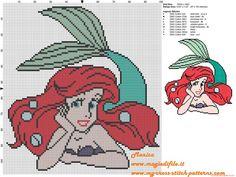 Cross Stitch Alphabet Patterns, Disney Cross Stitch Patterns, Modern Cross Stitch Patterns, Cross Stitch Thread, Just Cross Stitch, Cross Stitching, Mermaid Cross Stitch, Modele Pixel Art, Ariel