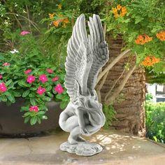 Design Toscano Extended Grace Angel Statue & Reviews | Wayfair Angel Garden Statues, Fairy Statues, Gnome Statues, Garden Angels, Stone Garden Statues, Outdoor Garden Statues, Fairy Figurines, Outdoor Sculpture, Outdoor Gardens