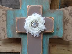 Shabby Chic Stacked Cross Hanger by SassySouthernCharm