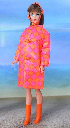 "Standard Barbie in #1808 ""Drizzle Dash"" 1967 -- even Barbie loves Orange & Pink!!"