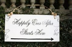 Happily ever after sign for wedding.  See more castle wedding favors and party ideas at www.one-stop-party-ideas.com