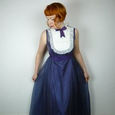 70s 60s VICTORIAN maxi dress blue polka dot by SartorialMatters, £38.00