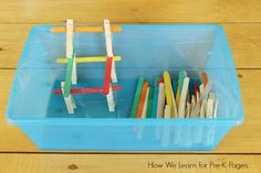 quiet bins craft sticks clothespins