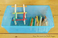 quiet bins craft sticks clothespins