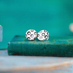 Polka Dot Earrings PMC 960  Sterling Silver by MySilverPie on Etsy