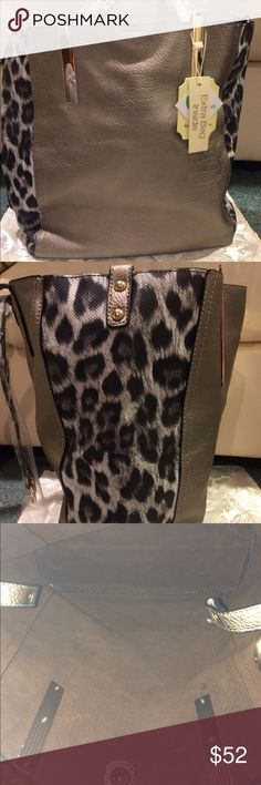 Fashion Tote Bag Beautiful dark silver tone tote bag with leopard print on sides. Gold hardware. Comes with extra detachable bag inside. Adjustable extra straps. Fully lined in brown faux suede. Both bags are faux leather. Bags Totes