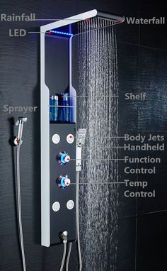 ELLO&ALLO Stainless Steel Shower Panel Tower System LED Rainfall Waterfall Shower Head Faucet Rain Massage System with Body Jets Black and White Shower head faucet with 5 functions rain Bathroom Shower Panels, Master Shower, Tub To Shower Remodel, Waterfall Shower, Small Showers, Rainfall Shower, Bathroom Design Luxury, Dream Bathrooms, Luxury Bathrooms
