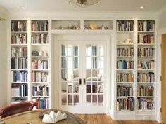 room: Home Office Traditional room by Urban Dwellings LLC Love the doors surrounded by built in bookshelves. Perfect for a home office/library. - March 02 2019 at Bookshelves Built In, Built Ins, Bookcases, Floor To Ceiling Bookshelves, Styling Bookshelves, Home Library Design, House Design, Home Library Decor, Cozy Library