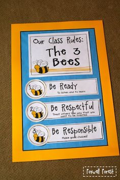 """FREE """"BEE"""" Classroom Rules~ Be ready. Be respectful. Be responsible. First saw these in a colleague's room over a decade ago. The rules are as cute and relevant today, as they were back then!"""
