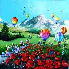 Charlotte Lachapelle est née en 1955 à Souillac dans le Lot. Son enfance fut bercée par la longueur du Quercy. Membre fondateur du Groupe Primitifs Modernes Air Balloon Rides, Hot Air Balloon, Acrylic Painting Inspiration, French Artists, Stone Painting, Folk Art, Balloons, Abstract Art, Anime