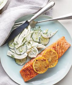 Salmon With Creamy Cucumber-Fennel Salad recipe from realsimple.com. #MyPlate #protein #vegetables