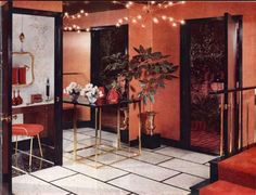 1956 Modern Red Entry Source: New Beauty for Basements and Basementless Houses with Armstrong Floors by Armstrong Cork Co, 1950s House, Vintage Bathrooms, Vintage Interiors, Mid Century House, Art Decor, Home Decor, Light Fixtures, Retro Vintage, Interior Design