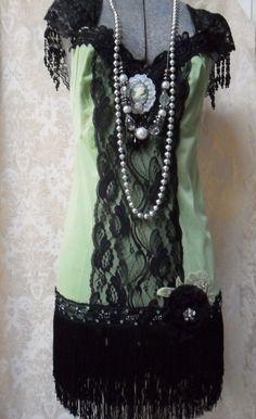 FLAPPER Great Gatsby 1920s Speakeasy Jazz Age Roaring 20s - Vintage Slip Make Over - Apple Green and Black
