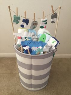 Baby Boy baby shower gift! (Idea from my mother-in-law) #babygiftbaskets