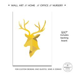 "Modern Wall Art, Yellow Deer, Geometric Design, 5x7"", Deer Art Print, Shades of Yellow, Cottage Wall Art, Artwork for Your Office, Canadiana by MERRILYDESIGNS on Etsy https://www.etsy.com/listing/231455628/modern-wall-art-yellow-deer-geometric"