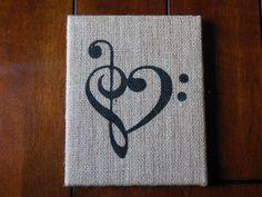 Artículos similares a por amor a la música - 8 x 10 en el arte de la lona de arpillera - negro en Etsy