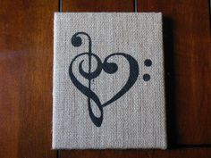 for the love of music - 8x10 on Burlap Canvas Art - black