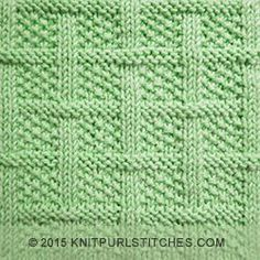 Square Lattice is another one of the knit and purl textured blocks that has a great optical illusion. Pay close attention to the seed stitch, which is the bumpy pattern in between the basketweave pieces. The seed stitch creates an interesting texture that makes for a dense, warm fabric, and it will lay flat so it works well for borders. It will make beautifully tailored suits, coats, or afghan squares and baby blankets.