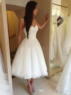 Tea Length Sweetheart Short Lace Wedding Dress Bridal Gown Custom Size 2 4 6 8+