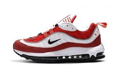 new york 21d0b 4ad35 Mens Womens Nike Air Max 98 Red White Black Athletic Sneakers Workout Shoes,  Black Running