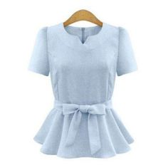 Elegant Short Sleeve Pure Color Bowtie Ruffled Design Women's Blouse