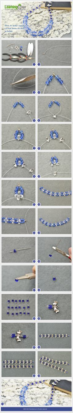 How to Make Sapphire Crystal Lotus Necklaces at Home
