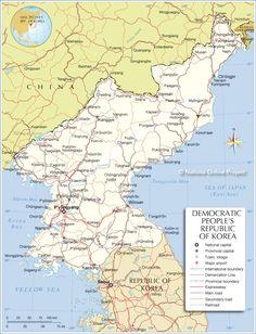 Nordkorea   Geografiske Kort Over Nordkorea   Dansk Encyklopædi