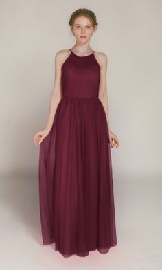 Sleeveless Tulle Long Bridesmaid Dress with Halter Neck TBQP359