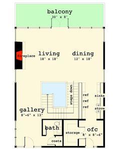 Multi-Level Modern Houso Plan For The Rear Sloping Lot - 44150TD floor plan - Main Level