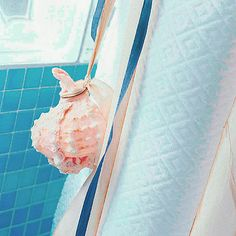 Easy Embellishment. Hang a seashell from the shower curtain.