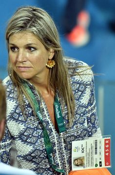 Dutch Queen Maxima attends the women's field hockey medals ceremony of the Rio 2016 Olympics Games at the Olympic Hockey Centre in Rio de Janeiro on...