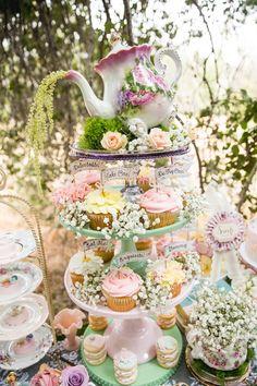 Cupcakes from a Vintage Tea Party on Kara's Party Ideas | KarasPartyIdeas.com (45)
