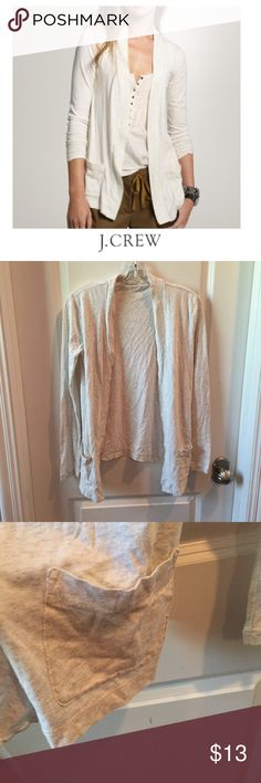 "J. Crew Cream Heather Always Pocket Cardigan J. Crew Cream Heather Always Pocket open Cardigan. Jersey, tee like material, but listing as Sweater for the Cardigan category. 16"" bust. 25"" long. Gently worn, a bit of piling, see photo. Very good condition. Feel free to make an offer or bundle & save. J. Crew Sweaters Cardigans"