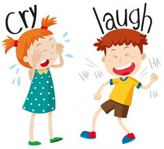 Illustration about Opposite adjectives cry and laugh illustration. Illustration of girl, graphic, picture - 63734288 Learning English For Kids, English Lessons For Kids, Teaching English, Kids Learning, Opposites For Kids, Opposites Preschool, English Activities, Preschool Learning Activities, Preschool Activities