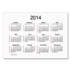 52 Week Calendar 2014 Business Cards  Design from Calendars by Janz