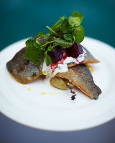 rainbow trout with horseradish yoghurt & balsamic beets