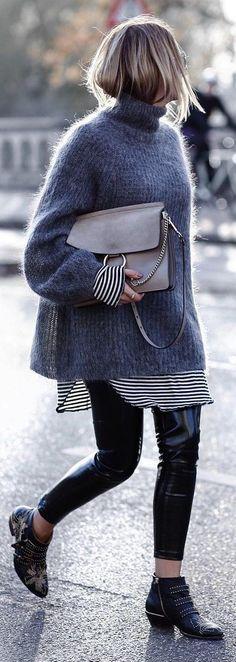 Grey Turtleneck + Black Pants + Studded Boots