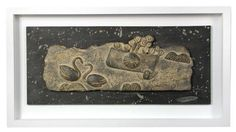 John Maltby (born 1936), a stoneware panel A' Small Drama', within a white painted frame, signed and titled to reverse, also signed to front h:33 w:61 cm Estimate £500-800 Sold for £500