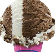 World Class Chocolate  White chocolate mousse ice cream swirled with milk chocolate mousse ice cream.