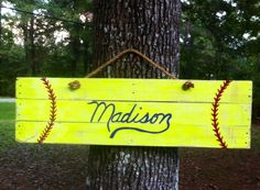 Hand painted pallet/ reclaimed wood softball sign would make is a baseball tho! Softball Party, Softball Crafts, Softball Quotes, Softball Pictures, Girls Softball, Softball Things, Softball Stuff, Softball Jewelry, Softball Gear